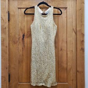 Christina Wu Gold Sequin Open Back Dress